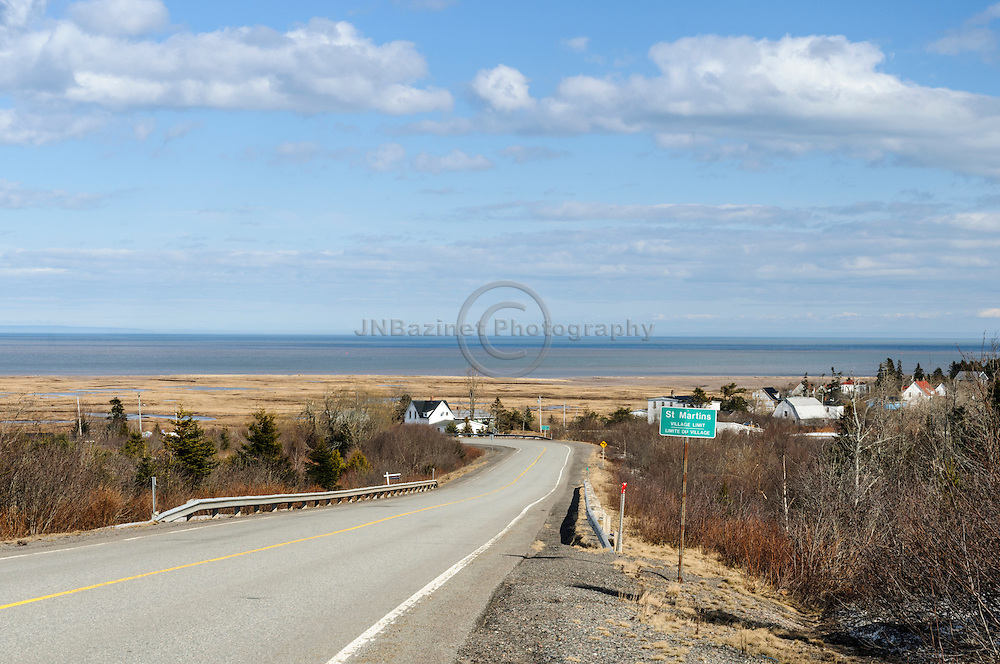 Curving road leads to St. Martins New Brunswick, Canada