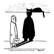 (A black cat's head gives a man's shadow a devilish expression)