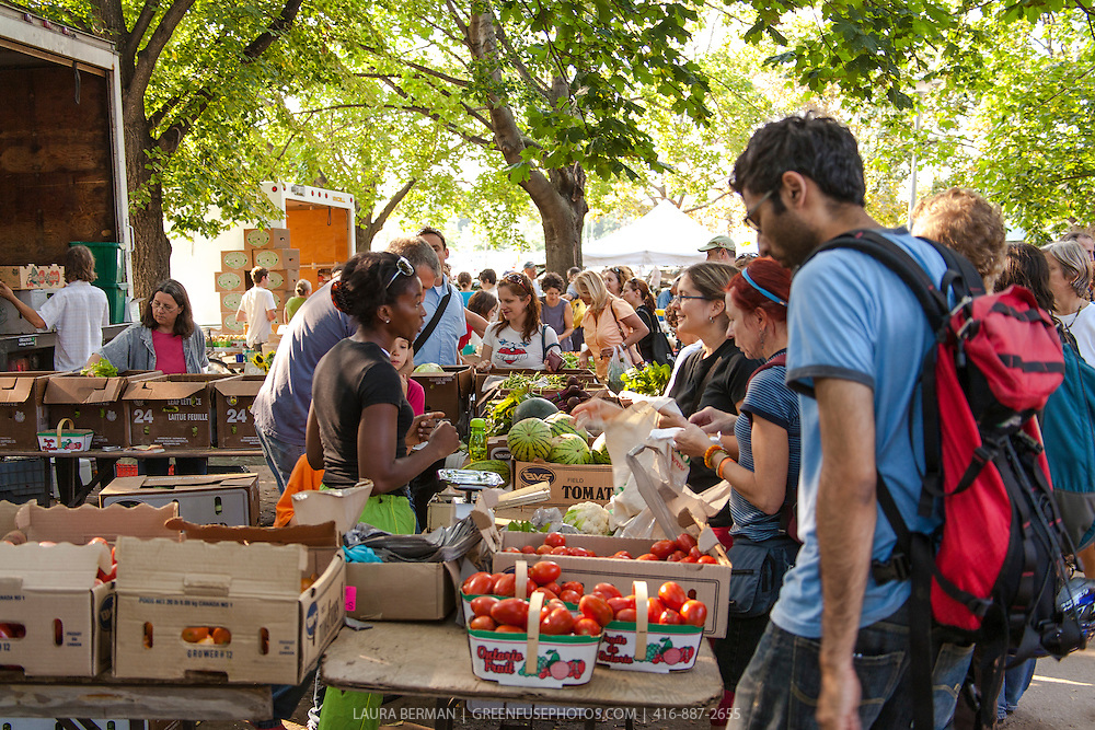 Shoppers and farmers with fresh, locally grown produce at a Toronto farmers market.
