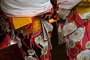 Women wearing kimonos. Today, kimono are most often worn by women, and on special occasions