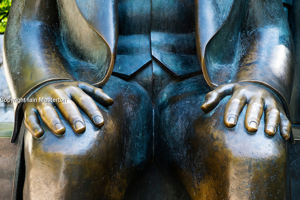 Detail of bronze Statue of Karl Marx  at Alexanderplatz in Berlin German