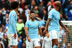 Sergio Aguero of Manchester City reacts after Fabian Delph scores the fifth goal - Mandatory by-line: Matt McNulty/JMP - 23/09/2017 - FOOTBALL - Etihad Stadium - Manchester, England - Manchester City v Crystal Palace - Premier League