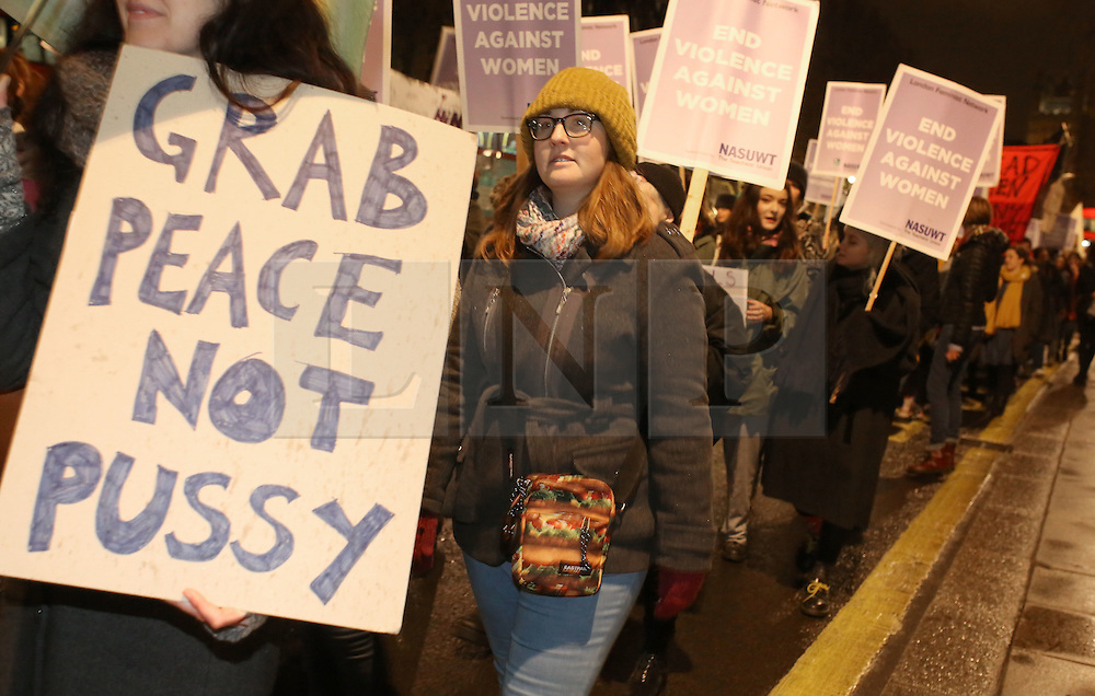 © Licenced to London News Pictures. 19/11/2016. London. UK.  <br /> Women's rights activists take part in the annual Reclaim The Night march in London, November 19th 2016. The mission of the march is intended as a protest and direct action against rape and other forms of sexual, relationship, and domestic violence. Something that has particular relevance since the election of accused misogynist  Donald Trump in America's presidential elections. <br /> Photo Credit: Susannah Ireland /LNP