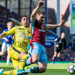 Everton goalkeeper Joel Robles (1) brings down Burnley forward Sam Vokes (9) in the penalty area in the Premier League match between Everton and Burnley<br /> (c) John Baguley | SportPix.org.uk
