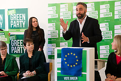 © Licensed to London News Pictures. 08/05/2019. London, UK.  MEP Green Party candidate for London, Scott Ainslie speaking at the Green Party European election campaign launch, held at the Candid Arts Trust.  Photo credit: Vickie Flores/LNP