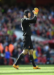Arsenal goalkeeper Petr Cech applauds the fans at full time