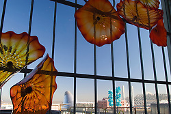 Museum of Glass and Glass Bridge, viewed from within Union Station; glass art by Dale Chihully