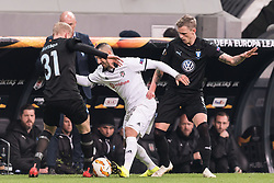 (L-R) Franz Brorsson of Malmo FF, Ricardo Andrade Quaresma Bernardo of Besiktas JK , Soren Rieks of Malmo FF during the UEFA Europa League group I match between between Besiktas AS and Malmo FF at the Besiktas Park on December 13, 2018 in Istanbul, Turkey