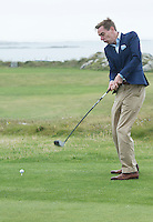 23/08/2015 Ryan Tubridy at Connemara Golf Club in Ballyconneely Co Galway who received honorary Life Membership from the Club with Captain of the Club Hotelier Brian Hughes, (AbbeyGlen Hotel).<br /> Photo:Andrew Downes, xposure.