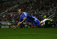 Photo: Andrew Unwin.<br /> Newcastle United v Chelsea. Carling Cup. 20/12/2006.<br /> Chelsea's Arjen Robben wins a free-kick.