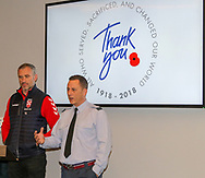Jamie Peacock, England Coach, with Flight Lieutenant Damian Clayton of the RAF during the official launch of the England Rugby League Remembrance Shirt at Imperial War Museum North, Trafford Park, Manchester<br /> Picture by Steve McCormick/Focus Images Ltd 07545 862647<br /> 15/10/2018