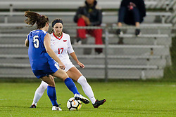 NORMAL, IL - October 17:  Katie Wells & Emily Adelman during an NCAA Missouri Valley Conference (MVC)  women's soccer match between the Indiana State Sycamores and the Illinois State Redbirds October 17 2018 on Adelaide Street Field in Normal IL (Photo by Alan Look)