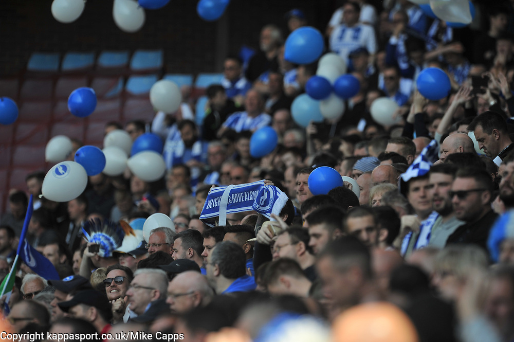 BRIGHTON FANS, Aston Villa v Brighton &amp; Hove Albion Sky Bet Championship Villa Park, Brighton Promoted to Premiership Sunday 7th May 2017 Score 1-1 <br /> Photo:Mike Capps