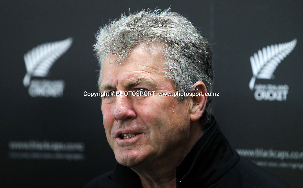 John Wright, current coach address the media at a press conference to announce he is not re-signing with the Black Caps as their head coach. New Zealand Cricket headquarters, Lincoln University, Christchurch Tuesday 1 May 2012. Photo: Joseph Johnson/www.photosport.co.nz