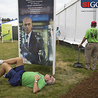 "The extremely hilly terrain and expansive course wore out many fans. Photographed for Sports Illustrated's US Open photo essay ""Behind The Open Curtain: Plotting the Course."" 8 of 8"
