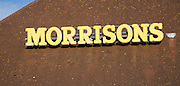 Morrisons supermarket superstore sign on roof, Felixstowe, Suffolk, England