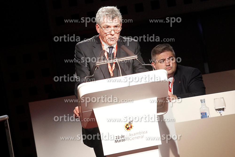 22.03.2016, Ciudad del Futbol de Las Rozas, Madrid, ESP, RFEF, Pressekonferenz spanische Fu&szlig;ballnationalmannschaft, im Bild Angel Maria Villar, President of RFEF, // during a press conference of spanish national football Team at the Ciudad del Futbol de Las Rozas in Madrid, Spain on 2016/03/22. EXPA Pictures &copy; 2016, PhotoCredit: EXPA/ Alterphotos/ Acero<br /> <br /> *****ATTENTION - OUT of ESP, SUI*****