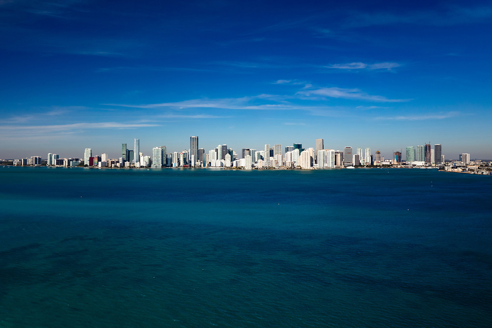 Aerial of Downtown Miami skyline viewed from Biscayne looking west showing from Brickell on the south to Edgewater on the north