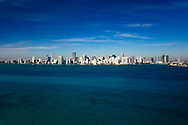 Aerial of Downtown Miami skyline viewed from Biscayne Bay, looking west showing from Brickell on the south to Edgewater on the north.