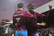 Scunthorpe United defender Conor Townsend (3) celebrates scoring goal with Scunthorpe United midfielder Hakeeb Adelakun (16) to go 2-1 during the EFL Sky Bet League 1 match between Scunthorpe United and Southend United at Glanford Park, Scunthorpe, England on 23 December 2017. Photo by Ian Lyall.