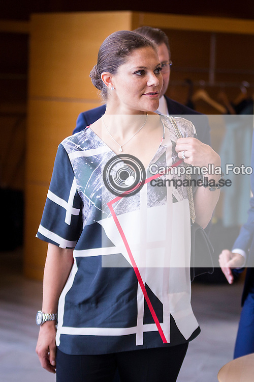 GOTHENBURG, SWEDEN - SEPTEMBER 10:  Crown Princess Victoria of Sweden visits the headquarters of AstraZeneca pharmaceutical on September 10, 2015 in Gothenburg, Sweden. (Photo by Michael Campanella/Getty Images)