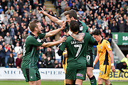 Graham Carey (10) of Plymouth Argyle celebrates scoring a goal to give a 3-0 lead to the home team with Antoni Sarcevic (7) of Plymouth Argyle and David Fox (24) of Plymouth Argyle during the EFL Sky Bet League 2 match between Plymouth Argyle and Newport County at Home Park, Plymouth, England on 17 April 2017. Photo by Graham Hunt.