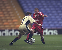LIVERPOOL, ENGLAND - MAY 1996: Liverpool's Lee Prior in action against West Ham United during the FA Youth Cup Final 2nd Leg at Anfield. (Pic by David Rawcliffe/Propaganda)