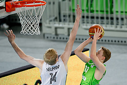 Philipp Neumann of Germany blocks Miha Lapornik of Slovenia during basketball match between National teams of Germany and Slovenia in Placement match for 5-9th place of U20 Men European Championship Slovenia 2012, on July 21, 2012 in SRC Stozice, Ljubljana, Slovenia. (Photo by Matic Klansek Velej / Sportida.com)