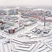 An overview of Novy Urengoi town in Yamal region, sub-Arctic Russia. <br /> <br /> The town is built in the 1950s to exploit some of the world's largest gas fields.
