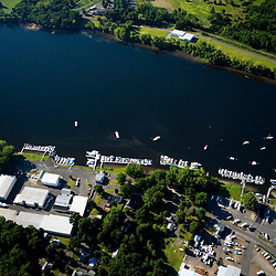 A mmarina in the Connecticut River in Middletown, Connecticut.  Aerial.