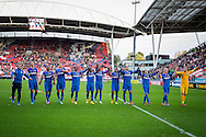 UTRECHT, FC Utrecht - PSV, voetbal Eredivisie seizoen 2014-2015, 26-10-2014, Stadion de Galgenwaard, spelers van PSv vieren de overwinning en bedanken de meegereisde supporters.