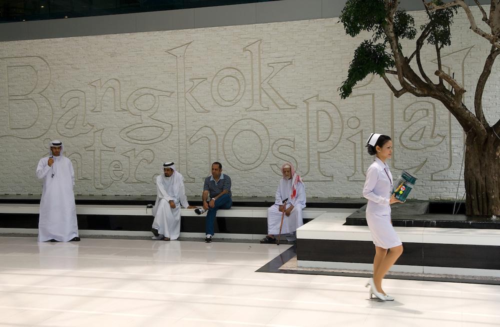 THAILAND: Bangkok.A nurse is spotted by medical tourists from the UAE, outside Bangkok International Hospital