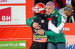 Winner Markus Eisenbichler (GER) celebrates with Karl Geiger (GER) during the 2nd Round of the Ski Flying Hill Individual Competition at Day 2 of FIS Ski Jumping World Cup Final 2019, on March 22, 2019 in Planica, Slovenia. Photo by Vid Ponikvar / Sportida