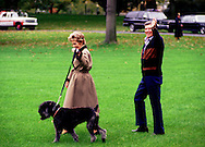 "A 25.7 MG FILE FROM FILM OF:.President and Nancy Reagan walk to Marine One with ""Lucky"" one of the dogs that they owned while they were at the White House.  Photo by Dennis Brack"