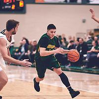 2nd year guard, Brayden Kuski (4) of the Regina Cougars during the Men's Basketball Home Game on Sat Nov 03 at Centre for Kinesiology,Health and Sport. Credit: Arthur Ward/Arthur Images