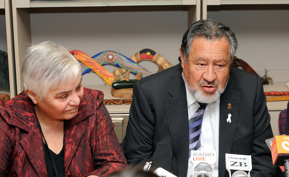 Maori Party co-leader Tariana Turia, left, as Pita Sharples announces his resignation as co-leader of the Party, Parliament, Wellington, New Zealand, Tuesday, July 02, 2013. Credit:SNPA / Ross Setford