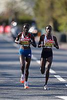 Elite women pace runners<br /> The Virgin Money London Marathon 2014<br /> 13 April 2014<br /> Photo: Jed Leicester/Virgin Money London Marathon<br /> media@london-marathon.co.uk