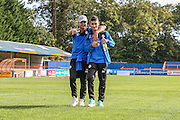 Forest Green Rovers Mohammed Chemlal (25) and Forest Green Rovers Fabien Robert (26) pre match walkabout during the Vanarama National League match between Braintree Town and Forest Green Rovers at the Amlin Stadium, Braintree, United Kingdom on 24 September 2016. Photo by Shane Healey.