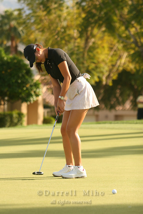 Apr. 1, 2006; Rancho Mirage, CA, USA; Michelle Wie watches her putt during the 3rd round of the Kraft Nabisco Championship at Mission Hills Country Club. ..Mandatory Photo Credit: Darrell Miho.Copyright © 2006 Darrell Miho .