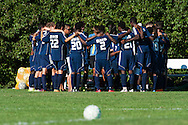 Burlington huddles together before the start of the boys soccer game between the The Burlington Seahorses and the Rice Green Knights at Rice Memorial high School on Tuesday afternoon September 15, 2015 in South Burlington, Vermont. (BRIAN JENKINS/for the FREE PRESS)
