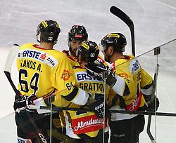 25.01.2013, Albert Schultz Eishalle, Wien, AUT, EBEL, UPC Vienna Capitals vs Graz 99ers, 2. Zwischenrunde, im Bild Torjubel Andre Lakos, (UPC Vienna Capitals, #64), Dan Bjornlie, (UPC Vienna Capitals, #28), Benoit Gratton, (UPC Vienna Capitals, #25) und Francoise Fortier, (UPC Vienna Capitals, #15) // during the Erste Bank Icehockey League 2nd placement Round match betweeen UPC Vienna Capitals and Graz 99ers at the Albert Schultz Ice Arena, Vienna, Austria on 2013/01/25. EXPA Pictures © 2013, PhotoCredit: EXPA/ Thomas Haumer