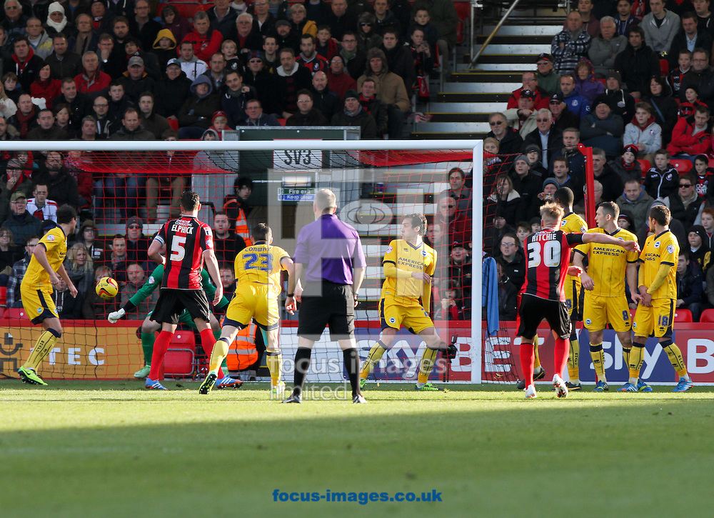 Picture by Tom Smith/Focus Images Ltd 07545141164<br /> 30/11/2013<br /> Matt Ritchie (4th from right) of Bournemouth scores the first goal with a free kick during the Sky Bet Championship match at the Seward Stadium, Bournemouth.