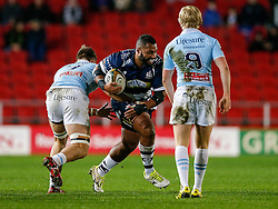 Bristol Rugby Prop Jamal Ford-Robinson is tackled by Bedford Blues Flanker Josh Buggea - Mandatory byline: Rogan Thomson/JMP - 11/12/2015 - RUGBY UNION - Ashton Gate Stadium - Bristol, England - Bristol Rugby v Bedford Blues - B&I Cup.