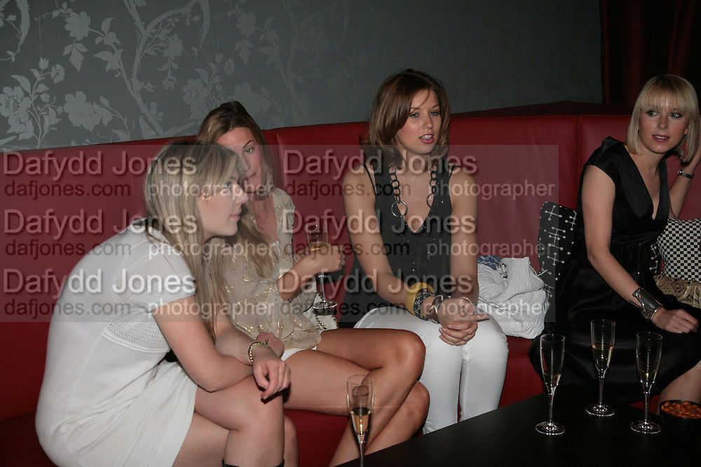 Theodora Warre, Eugenie Warre, Alex Findlay and Ticky Hedley-Dent. . Book launch hosted by Geordie Greig for Fulfilment & Betrayal by  Naim Attallah: Bluebird, 350 King's Road, London. 1 May 2007.  -DO NOT ARCHIVE-© Copyright Photograph by Dafydd Jones. 248 Clapham Rd. London SW9 0PZ. Tel 0207 820 0771. www.dafjones.com.