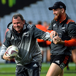 Assistant coach Ian Foster jokes with Tawerra Kerr-Barlow during the 2017 DHL Lions Series NZ All Blacks captain's run at Eden Park in Auckland, New Zealand on Friday, 7 July 2017. Photo: Dave Lintott / lintottphoto.co.nz