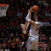 10 December 2016: The San Diego State Aztecs men's basketball team host's Saturday afternoon at Viejas Arena.  San Diego State forward Max Hoetzel attempts a contested jump shot in the second half. The Aztecs fell to the Sun Devils 74-63. www.sdsuaztecphotos.com
