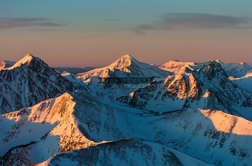Alpenglow on the peaks in the Madison Range in Montana.  Limited Edition - 75