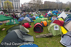 Hundreds of tents occupy the square at Marble Arch as hundreds of environmental protesters from Extinction Rebellion occupy Marble Arch, camping in the square and even on the streets, blocking access to traffic on Park Lane and Oxford Street in London's usually traffic-heavy west end. . London, April 16 2019.