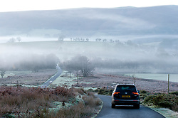 © Licensed to London News Pictures. 29/11/2019. Hundred House, Powys, Wales, UK. Mist hangs in the valleys near the small village of Hundred House in Powys, Wales, UK after temperatures plummeted to several degrees C below zero last night.  Photo credit: Graham M. Lawrence/LNP