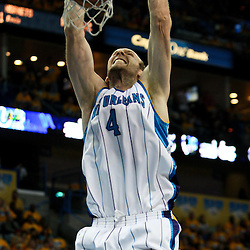 25 April 2009: New Orleans Hornets forward Sean Marks (4) dunks over Denver Nuggets forward Kenyon Martin (4) during a NBA Western Conference quarter-finals playoff game between the New Orleans Hornets and the Denver Nuggets at the New Orleans Arena in New Orleans, Louisiana.